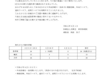 南草津病院 新型コロナウイルス感染症に関するご報告(第二十二報)のサムネイル